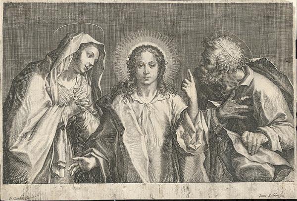 Jan Sadeler I., Peter Candid – Svätá rodina (Ježiš medzi svojimi rodičmi)