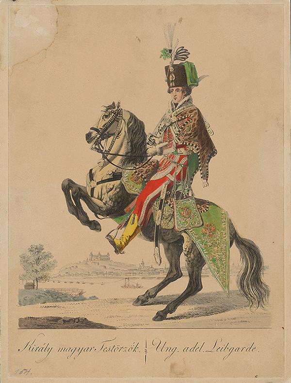 Stredoeurópsky grafik z 18. storočia - Jazdec z kráľovskej telesnej stráže