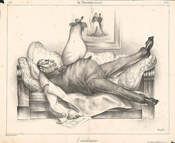 Francúzsky grafik z polovice 19. storočia – Spiaci muž s hruškou na bruchu