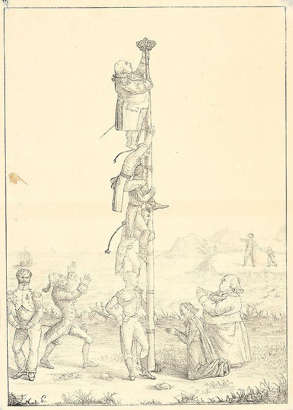 Francúzsky grafik z polovice 19. storočia – Šplhanie sa za korunou