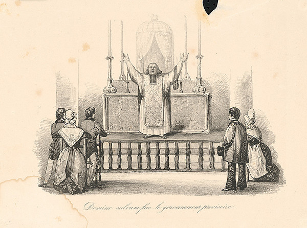 Francúzsky grafik z polovice 19. storočia – V kostole