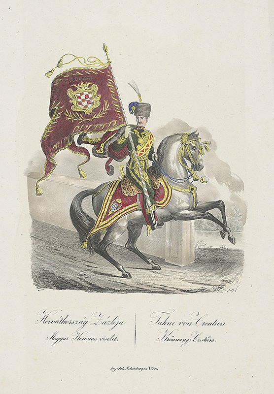 Stredoeurópsky grafik z 19. storočia - Vlajkonosič chorvátskej zástavy pri korunovácii Ferdinanda V.