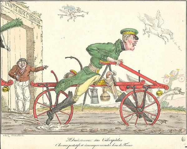 Francúzsky grafik z polovice 19. storočia – Jazda na bicykli