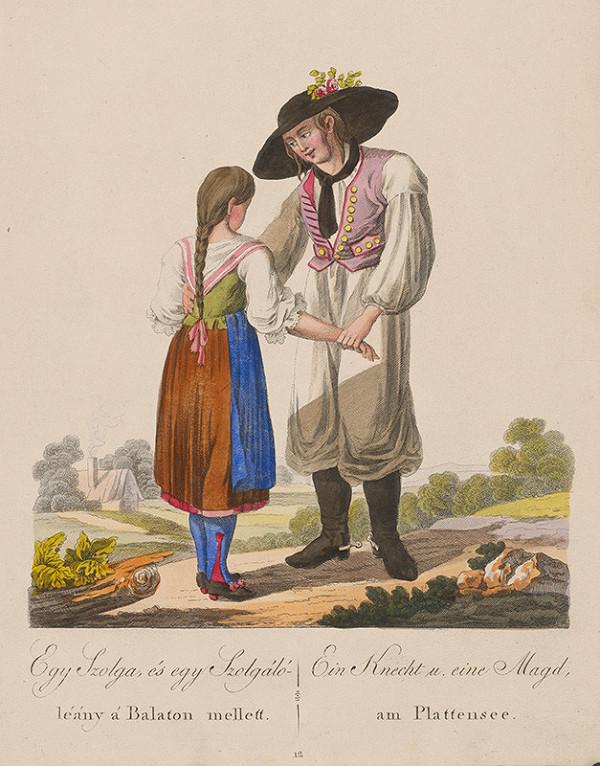 Stredoeurópsky grafik z 19. storočia - Sluha a slúžka od Balatonského jazera