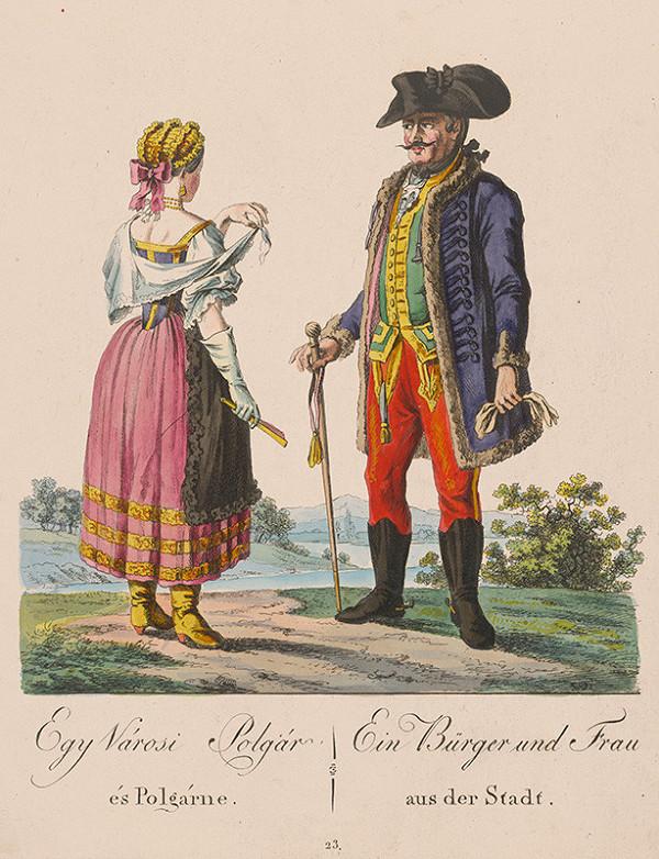 Stredoeurópsky grafik z 19. storočia - Mešťan a mešťanka