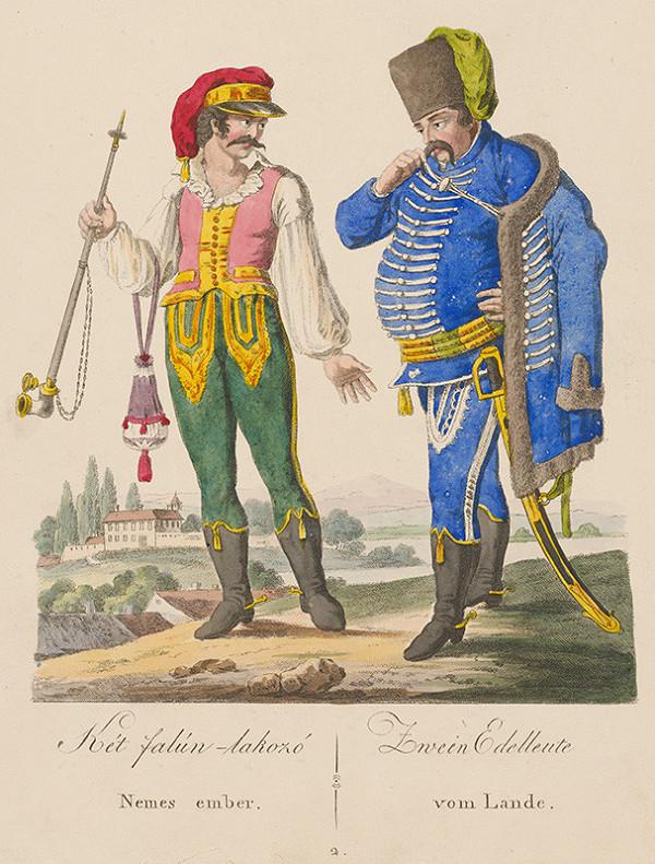 Stredoeurópsky grafik z 19. storočia - Zemani z dediny