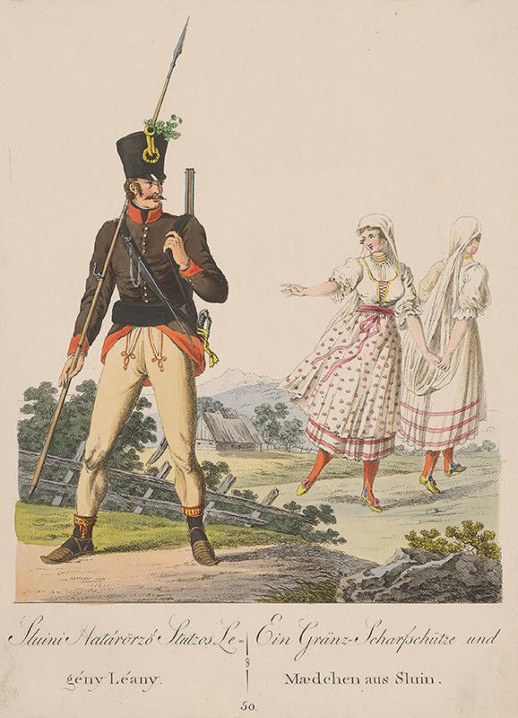 Stredoeurópsky grafik z 19. storočia - Hraničiar a dievčatá zo Sluiny