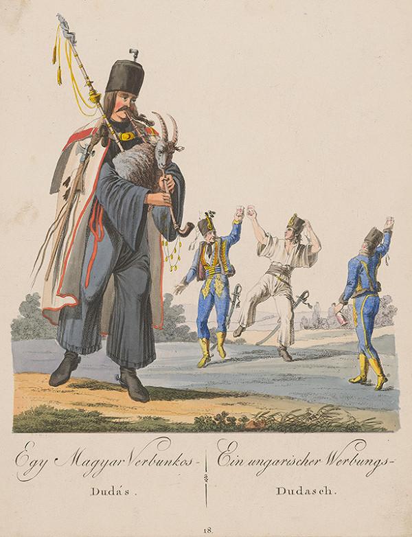 Stredoeurópsky grafik z 19. storočia - Maďarský verbunský gajdoš