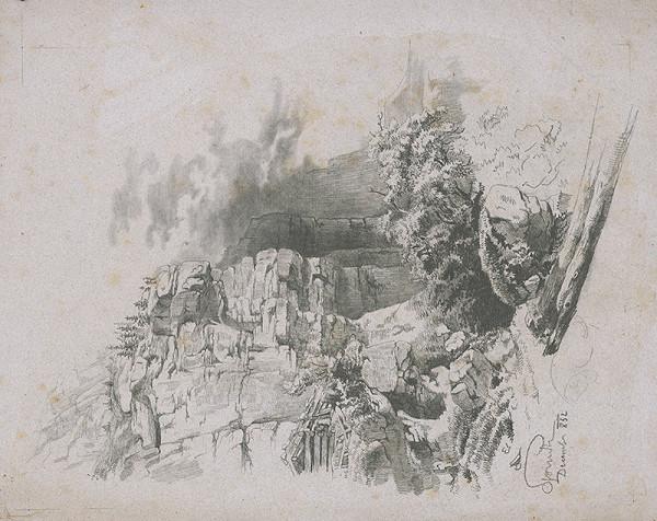 Stredoeurópsky grafik z 19. storočia - Horská krajina