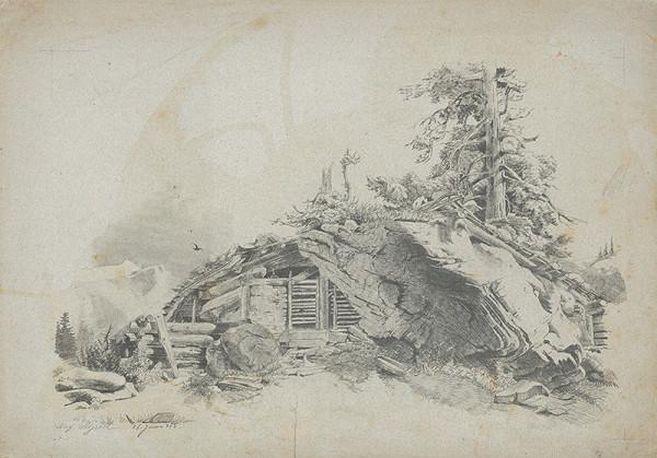 Stredoeurópsky grafik z 19. storočia - Horská krajina I.