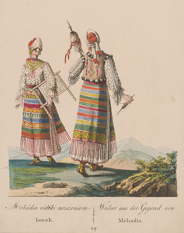 Stredoeurópsky grafik z 19. storočia - Ženy z okolia Mehádie