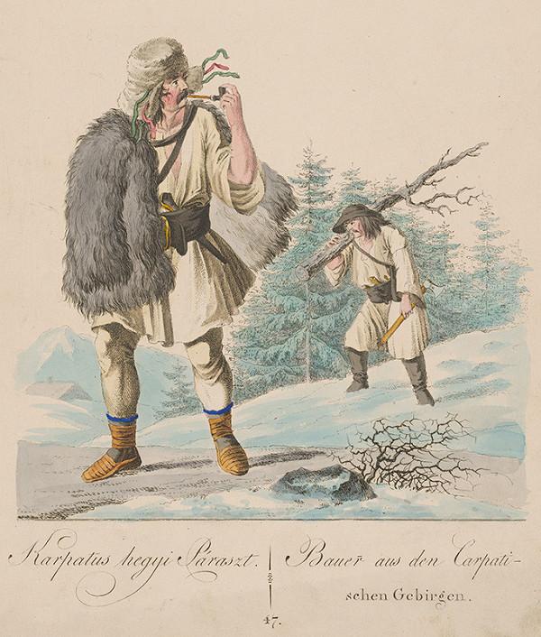 Stredoeurópsky grafik z 19. storočia - Sedliak z Karpatských hôr