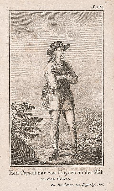 Stredoeurópsky grafik z 1. polovice 19. storočia – Maďarský kopaničiar od Moravských hraníc