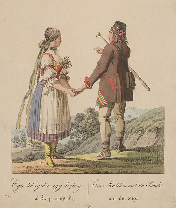 Stredoeurópsky grafik z 19. storočia - Dievča a mládenec zo Spiša