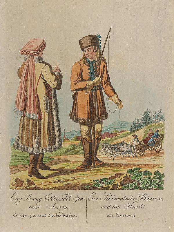 Stredoeurópsky grafik z 19. storočia - Sedliačka a sluha z okolia Bratislavy
