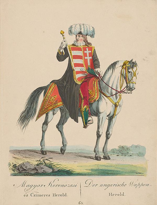 Stredoeurópsky grafik z 19. storočia, József Bikkessy Heinbucher - Uhorský korunovačný a erbový herold
