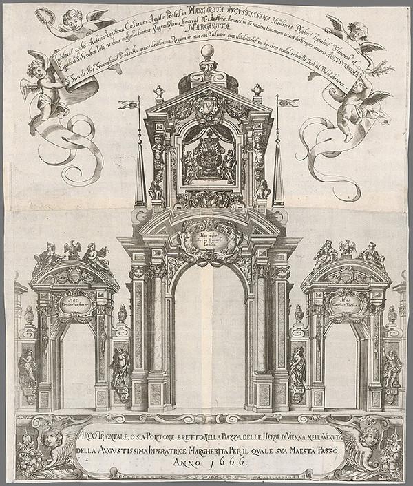 Nemecký autor z 2. polovice 17. storočia – Triumfálny oblúk Margaréty Terézie Habsburskej, nevesty Leopolda I. Habsburského z roku 1666