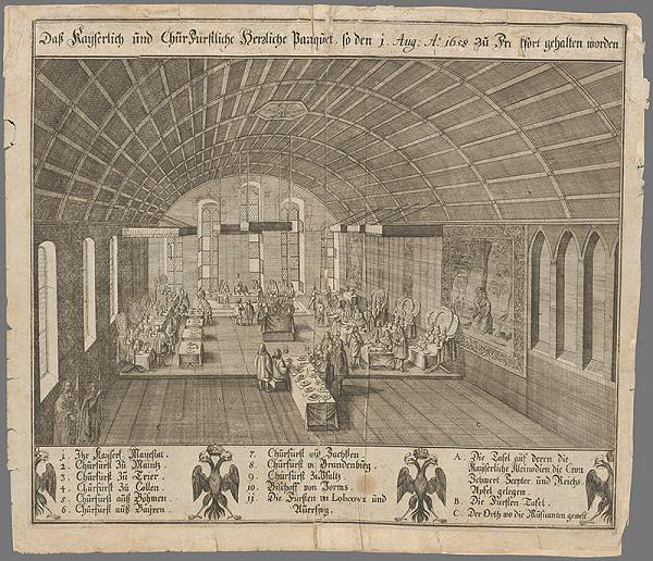 Nemecký grafik zo 17. storočia – Slávnostná korunovačná hostina po korunovácii Leopolda I.