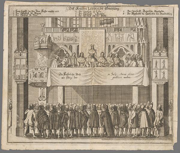 Nemecký grafik zo 17. storočia – Vyhlásenie voľby Leopolda I. za rímsko-nemeckého cisára