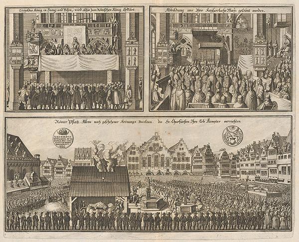 Nemecký grafik zo 17. storočia – Trojvýjav korunovačných slávností Leopolda I. rímsko-nemec. cisára