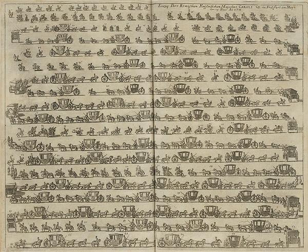 Nemecký grafik z 1. polovice 18. storočia, Fchr. P. - Usporiadanie sprievodu Karola VI.