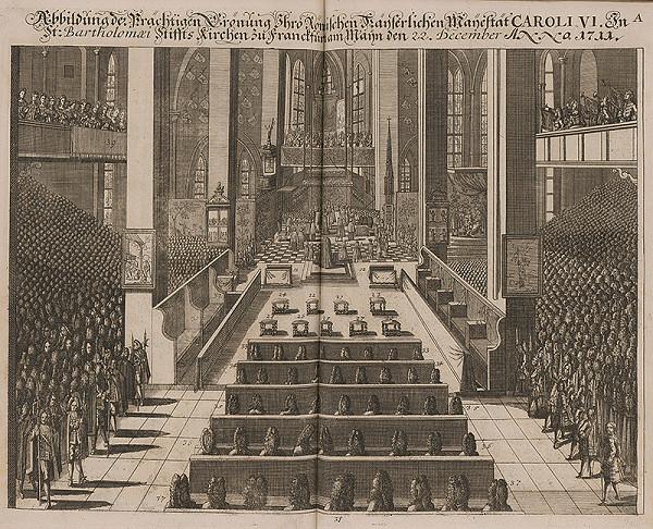 Nemecký grafik z 1. polovice 18. storočia - Korunovácia Karola VI. v Dóme sv. Bartolomeja