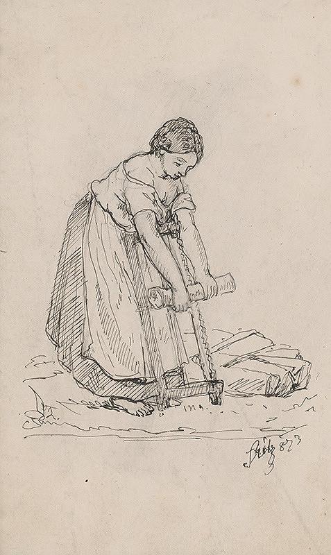 Moritz Stitz – Žena píliaca drevo