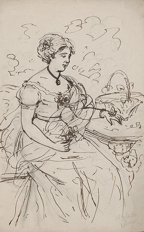 Moritz Stitz – Sediaca žena s motýľom na ruke