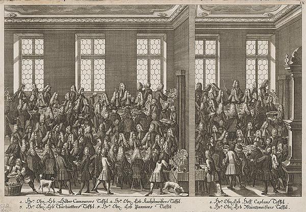 Rakúsky grafik z 18. storočia – Slávnostná hostina po oslave následníčky Márie Terézie