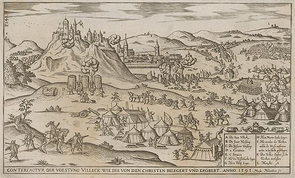 Nemecký grafik z 1. polovice 17. storočia - Obliehanie pevnosti Fiľakovo