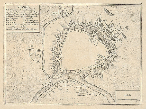 Francúzsky grafik z prelomu 17. - 18. storočia - Pôdorys opevnenia Viedne
