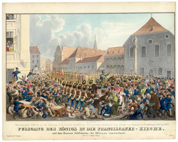 Eduard Gurk – Korunovácia Ferdinanda V. v Bratislave, príchod do Františkánskeho kostola