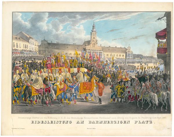Eduard Gurk – Korunovácia Ferdinanda V. v Bratislave, prísaha na námestí Milosrdných bratov
