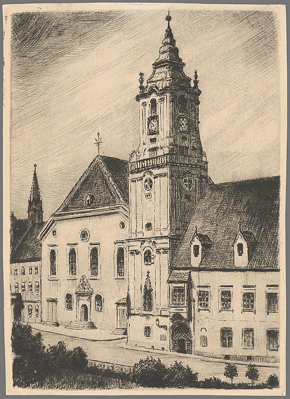 Slovenský grafik z 1. polovice 20. storočia – Radničná veža v Bratislave