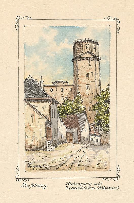 Slovenský kresliar z 1. polovice 20. storočia - Pohľad na korunovačnú vežu Bratislavského hradu