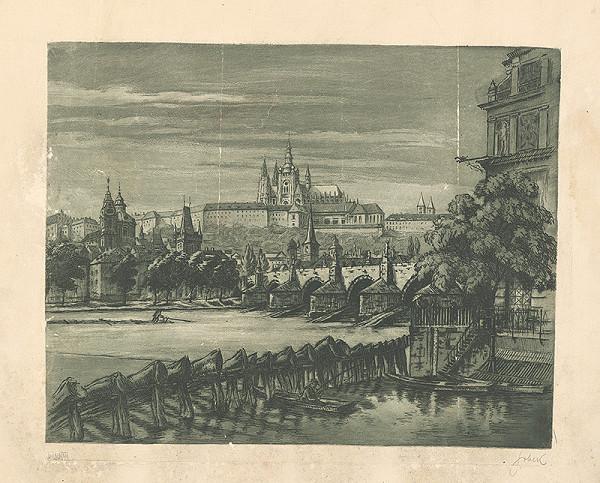 Stredoeurópsky grafik z 1. polovice 20. storočia - Pohľad na Karlov most a Hradčany v Prahe