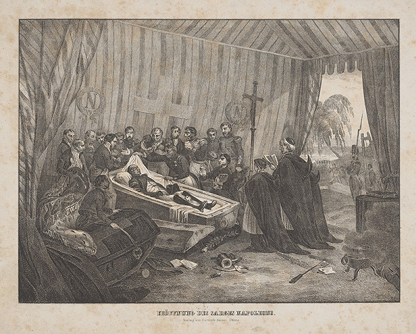 Stredoeurópsky grafik z 1. polovice 19. storočia - Napoleon v rakve