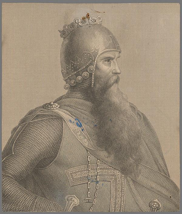Stredoeurópsky grafik z 19. storočia - Portrét cisára Fridricha Barbarosu