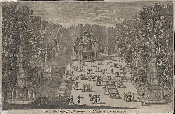 Francúzsky grafik zo 17. storočia - Pohľad na záhradu vo Versailles
