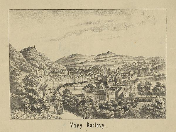 Rakúsky grafik z 19. storočia – Pohľad na Karlove Vary