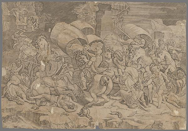 Taliansky grafik zo 17. storočia - Bitka medzi Rimanmi a Kartágincami