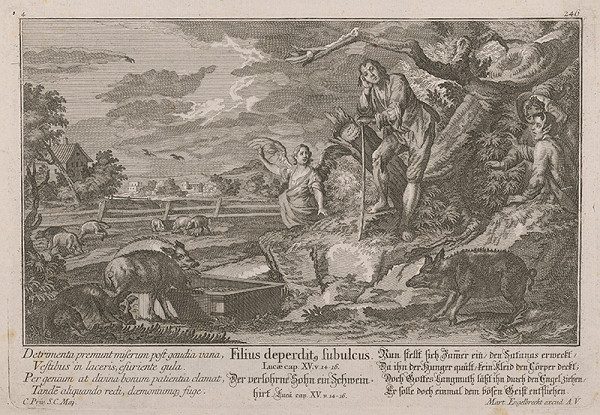 Nemecký grafik zo 17. storočia - Chlapec pasúci svine