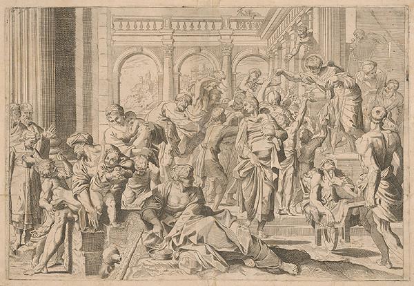 Taliansky grafik zo 17. storočia, Annibale Carracci – Svätý Rochus rozdáva almužnu