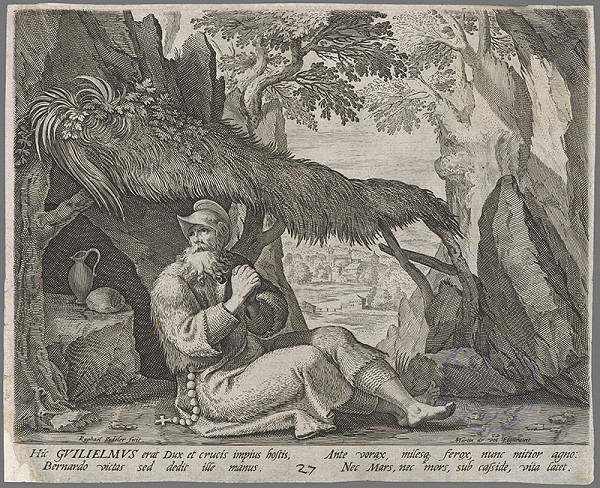 Raphael Sadeler I., Maarten de Vos - Život svätého Bernharda - pustovníka v lese