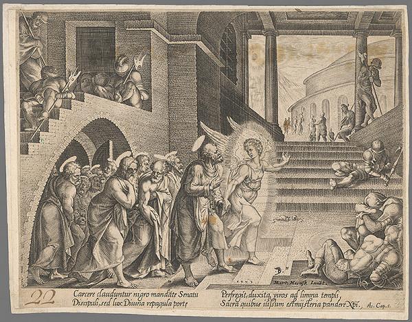 Maerten van Heemskerck – Anjel Gabriel vedie apoštolov z väzenia