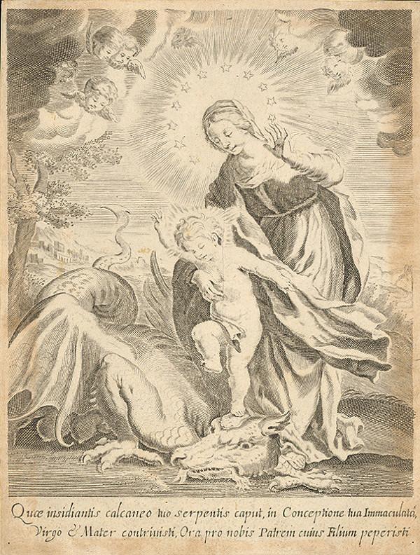Taliansky grafik z prelomu 17. - 18. storočia – Mária s dieťaťom