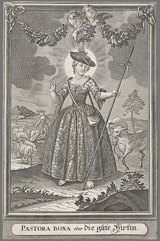 Nemecký grafik z 18. storočia – Panna Mária ako dobrá pastierka