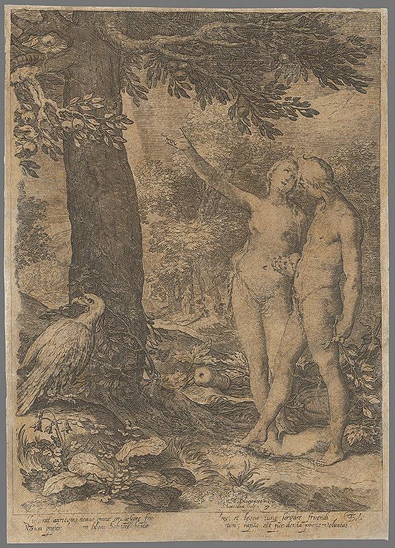 Abraham Bloemaert, Jan Saenredam - Adam a Eva pred stromom poznania
