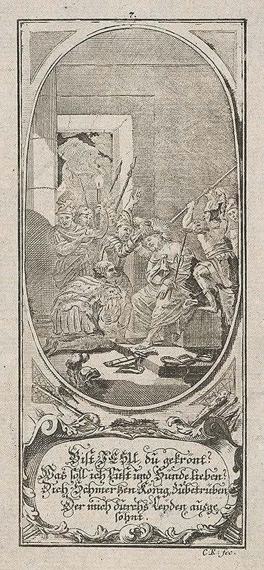 Nemecký grafik z 18. storočia - Korunovanie Ježiša tŕním