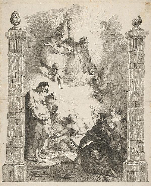 Franz Anton Maulbertsch, Jacob Matthias Schmuzer – Apoteóza sv. Jána Nepomuckého (Sv. Ján Nepomucký ako orodovník za chudobných a chorých)